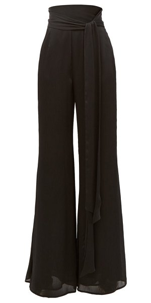 Galvan London belted high-rise textured-satin wide-leg trousers in black