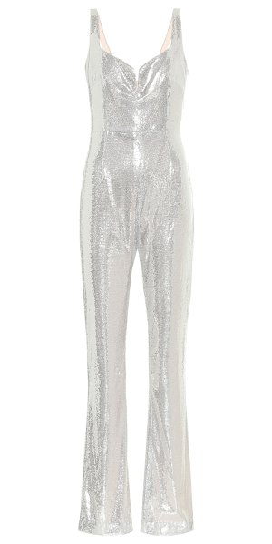 Galvan London galaxy corset sequined jumpsuit in silver