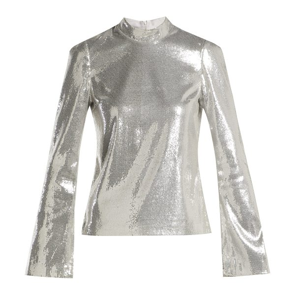 Galvan London galaxy long sleeved sequined top in silver - Galvan - Galvan's silver Galaxy top is a bold choice for...