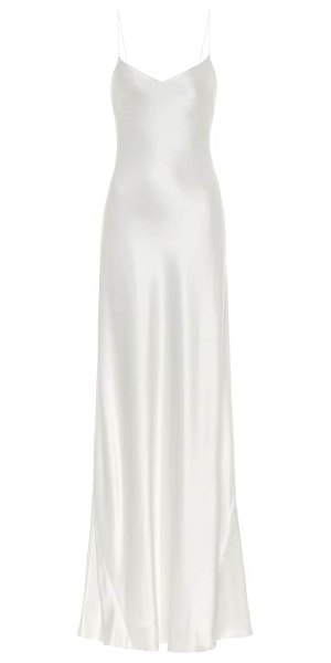 Galvan London malibu satin maxi bridal dress in white
