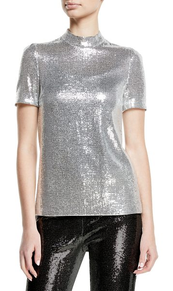 """Galvan London Mock-Neck Stretch Sequin Galaxy Top in silver - Galvan """"Galaxy"""" top in satin-back crepe with high-shine..."""