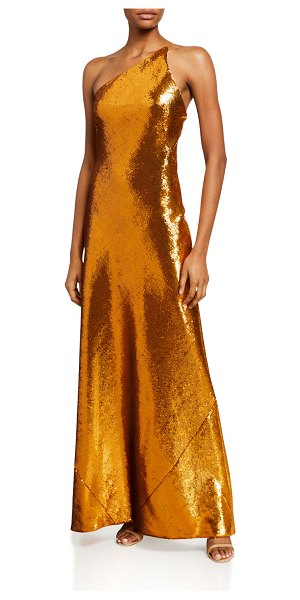 Galvan London Roxy Gilded Sequin One-Shoulder Gown in gold