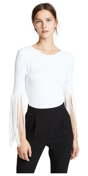 Galvan London vesper top in white - Fabric: Slinky jersey Fringed trim Waist-length style...