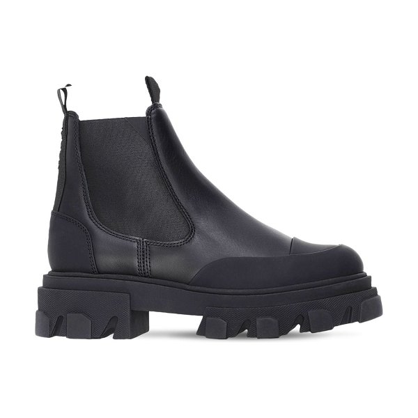 Ganni 50mm leather combat boots in black