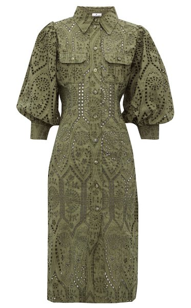 Ganni balloon sleeve broderie anglaise cotton shirtdress in khaki