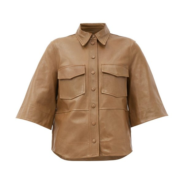 Ganni bell-sleeve leather shirt in beige