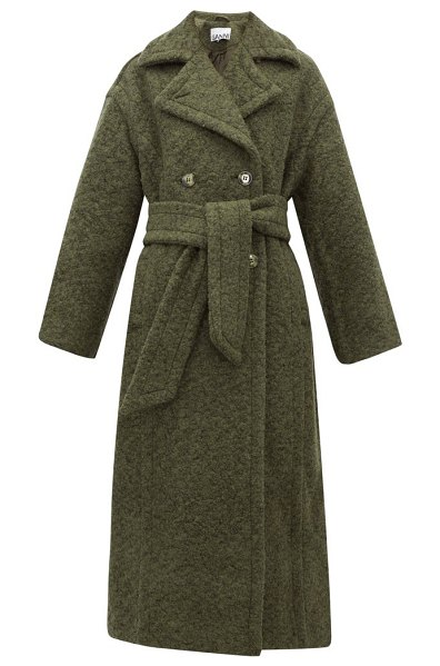 Ganni belted double breasted wool blend coat in khaki
