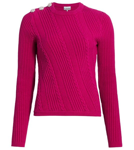 Ganni cable knit crewneck sweater in fuchsia red