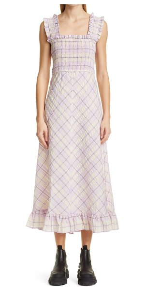 Ganni check a-line seersucker midi sundress in orchid bloom
