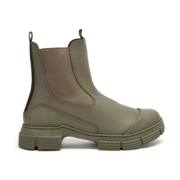 Ganni chunky recycled-rubber chelsea boots in khaki