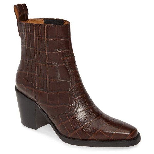 Ganni croc embossed western boot in chicory coffee