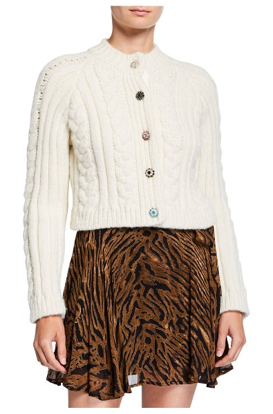Ganni Cropped Cable-Knit Alpaca Cardigan in white