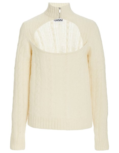 Ganni cut-out wool-blend knit top in white