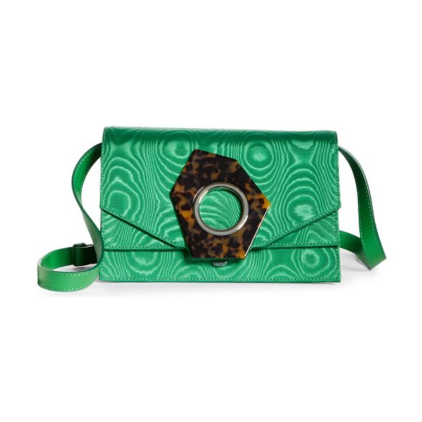 Ganni flap crossbody bag in island green