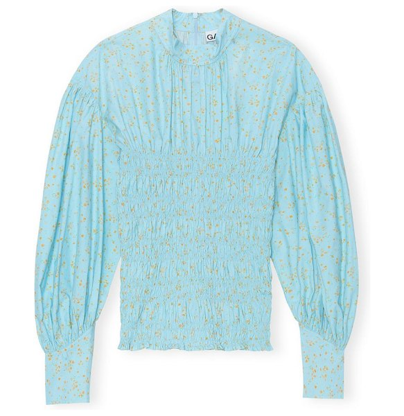 Ganni floral long sleeve top in corydalis blue