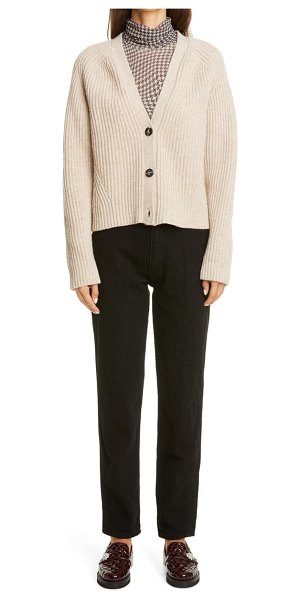 Ganni houndstooth print mesh turtleneck in brazilian sand