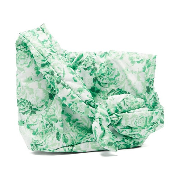 Ganni knotted floral-print padded shoulder bag in green