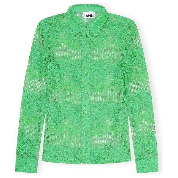 Ganni lace long sleeve top in kelly green