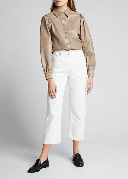 Ganni Lamb Leather Top in fossil