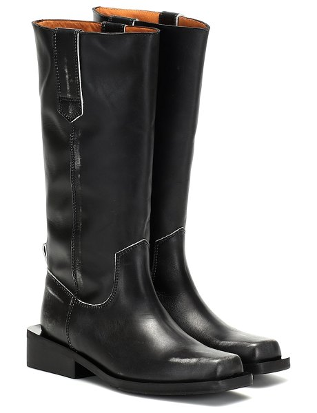 Ganni leather boots in black