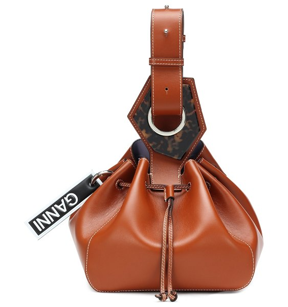 Ganni leather bucket bag in brown