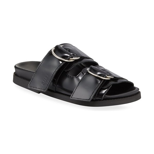 Ganni Leather Flat Two-Band Sandals in black