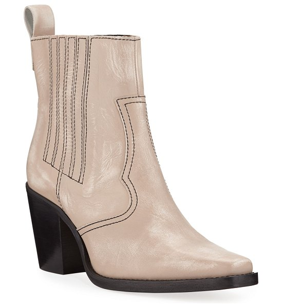 Ganni Leather Western Pull-On Booties in beige