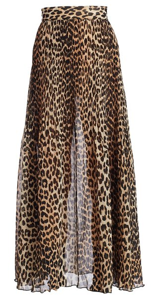 Ganni leopard print pleated maxi skirt in leopard