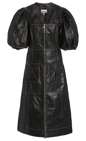 Ganni mutton-sleeve leather midi dress in black