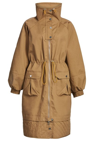 Ganni oversized double layer coat in tigers eye