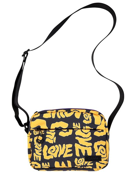 Ganni Printed recycled tech camera bag in spectra yellow