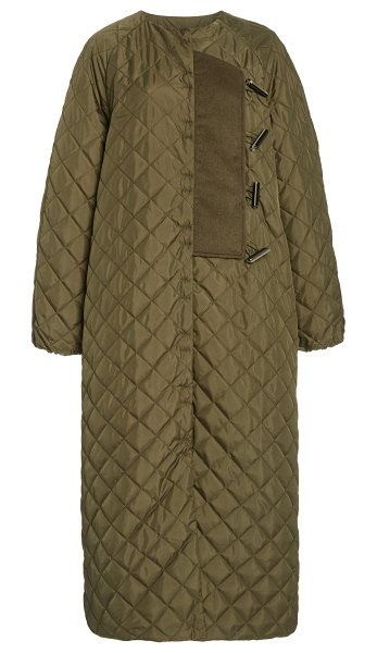 Ganni quilted recycled nylon coat in green
