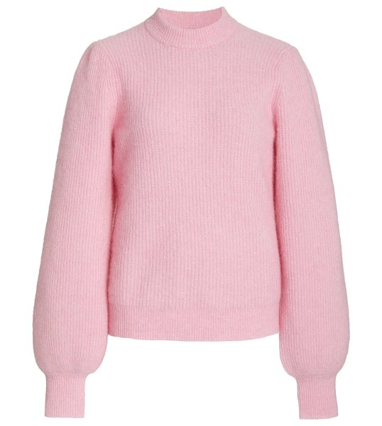Ganni ribbed-knit wool-blend sweater in pink