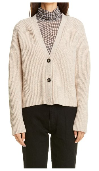 Ganni ribbed recycled wool blend sweater in brazilian sand