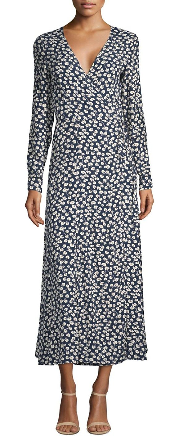 release date buy cheap popular stores Ganni Roseburg Crepe Wrap Dress | Shopstasy