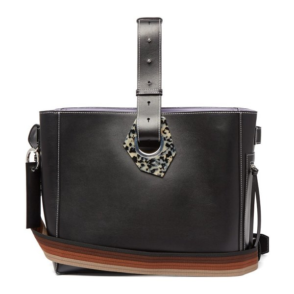Ganni smooth-leather tote bag in black