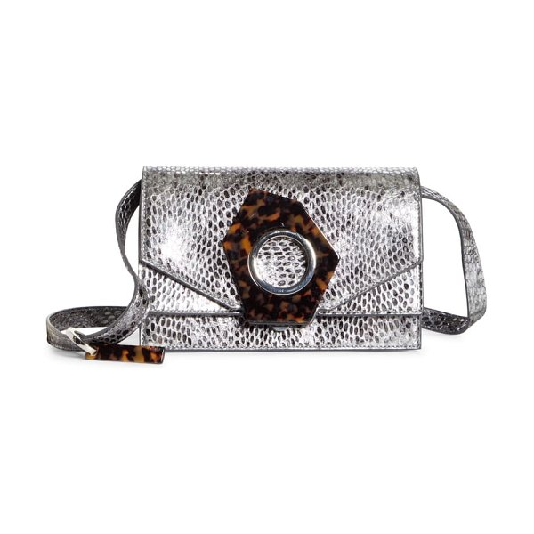 Ganni snake embossed leather flap crossbody bag in silver