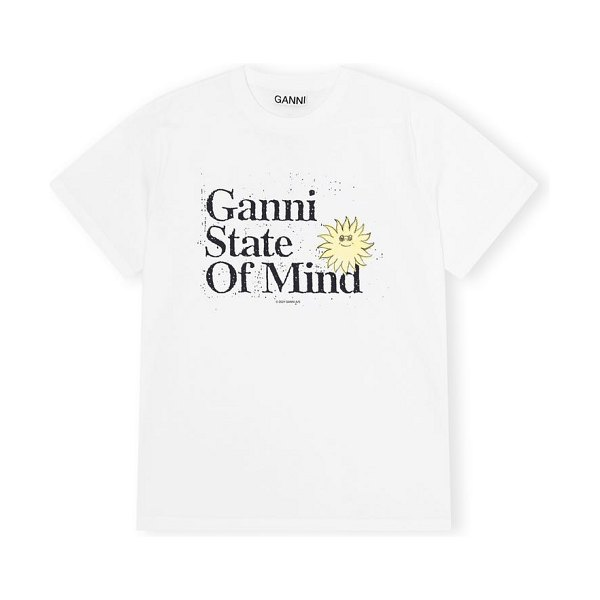 Ganni state of mind organic cotton graphic tee in bright white