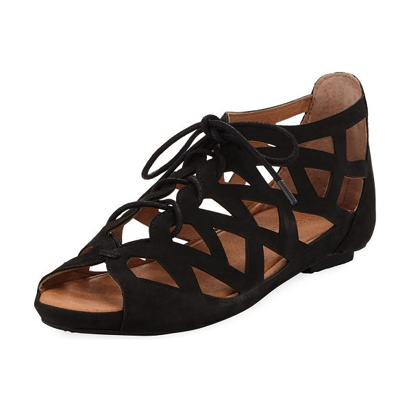 """Gentle Souls Brielle Lace-Up Cutout Sandal in black - Gentle Souls leather cutout sandal. 1"""" hidden demi-wedge..."""