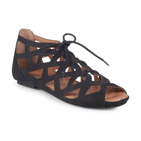 Gentle Souls Brielle Lace-Up Leather Sandals in black - Chic leather sandals with unique cut-out design. Leather...