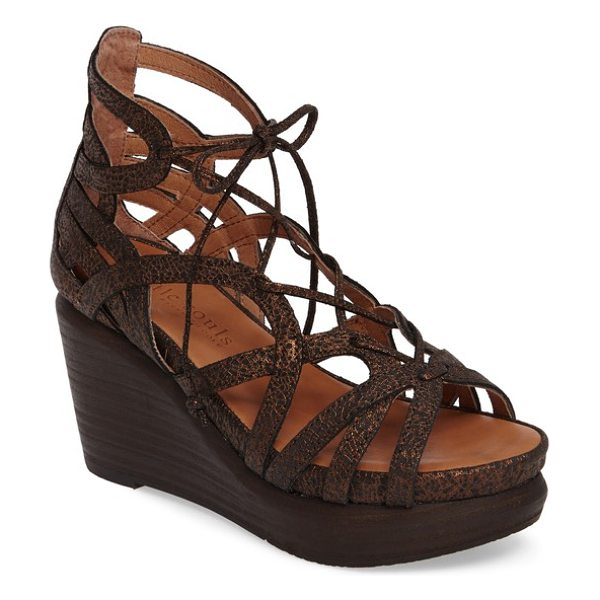 Gentle Souls 'joy' lace up nubuck sandal in bronze leather - Supple deerskin lining and supportive flaxseed pillow...