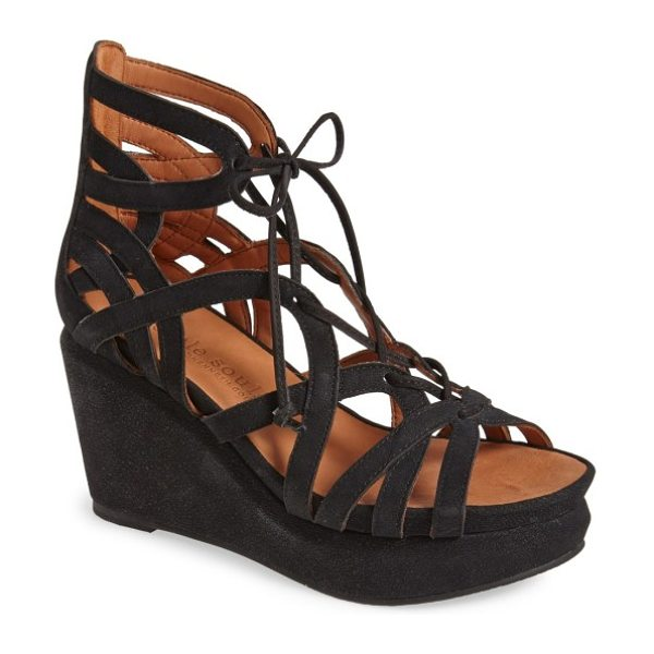 Gentle Souls by kenneth cole 'joy' lace up nubuck sandal in black - Supple deerskin lining and supportive flaxseed pillow...