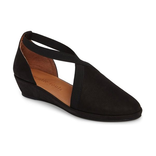 Gentle Souls by kenneth cole natalia wedge in black - Comfortable elastic cross straps trim the vamp and wrap...