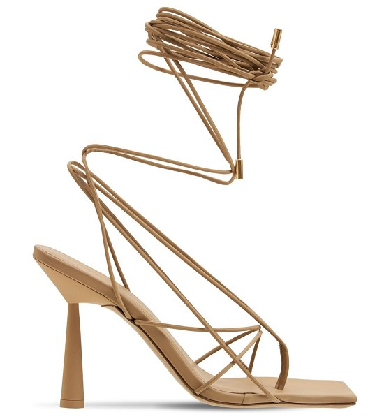 GIA X RHW 100mm rosie 6 rubberized lace-up sandals in beige