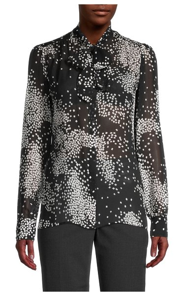 Giambattista Valli Dotted Print Silk Blouse in black