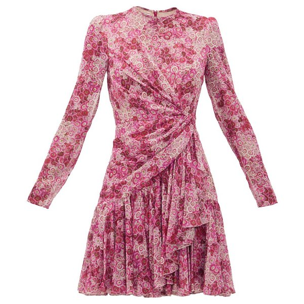 Giambattista Valli draped floral-print silk-georgette mini dress in pink print