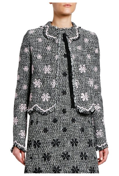 Giambattista Valli Floral Boucle Jacket with Zigzag Hem in black/white
