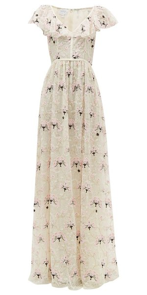 Giambattista Valli floral-embroidered chantilly-lace tulle gown in ivory multi