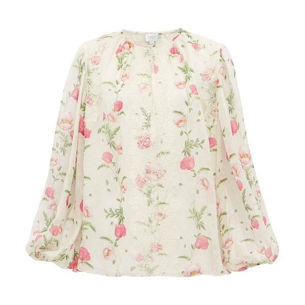 Giambattista Valli floral print silk georgette blouse in ivory multi