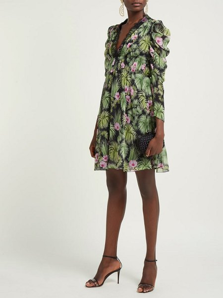 Giambattista Valli floral print silk georgette mini dress in black multi